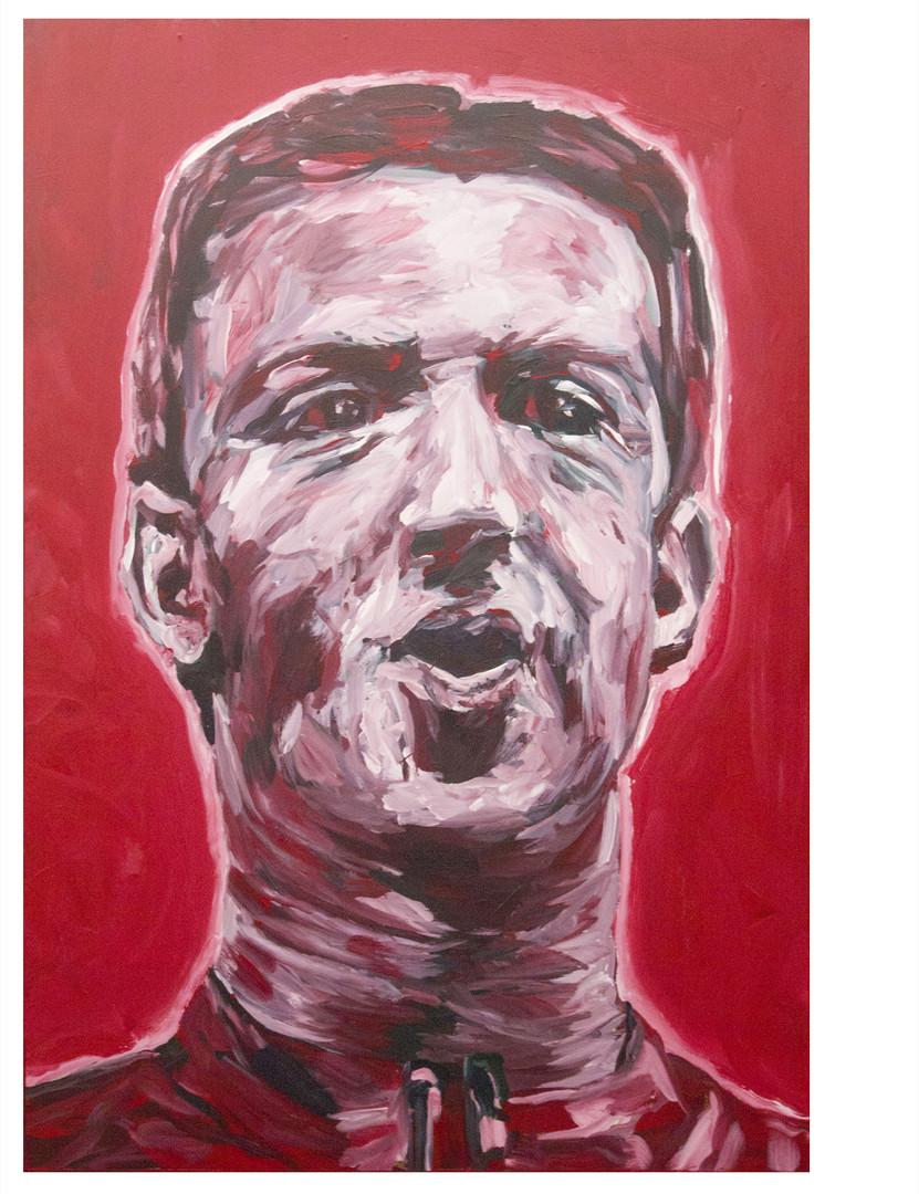 Our Savior + her, red.Acrylique sur toile. 130 x 89 cm
