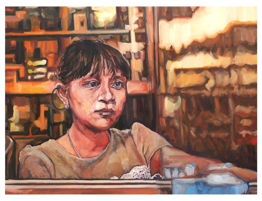 """Les figures tragiques : La pharmacienne au Vietnam. """" Chez elle la topographie tue... """" Huile sur toile.  Format : 130 x 97 cm. L'image du tableau vient d'une photographie de presse."""