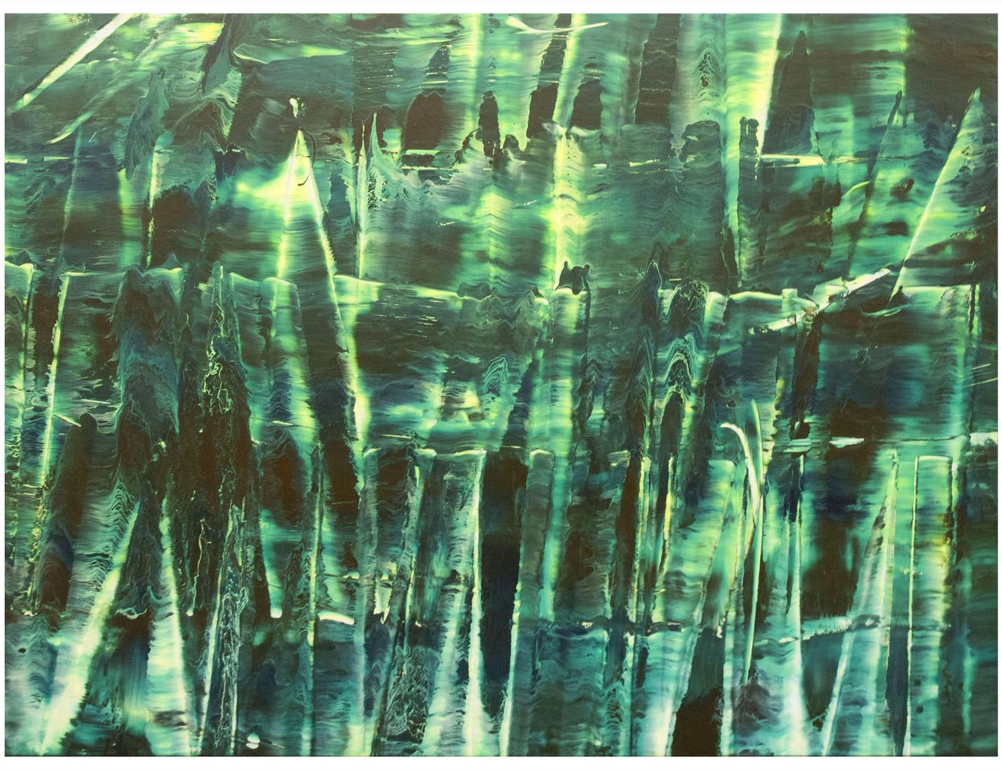 Singularité verte - Première époque - 60F01. 130 x 97 cm. Peinture acrylique.