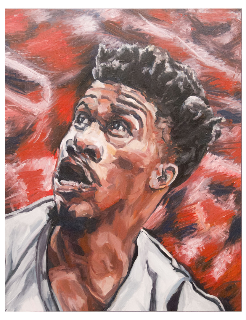 Player-one. Huile sur toile. Format 93 x 72 cm. L'image du tableau vient d'une photographie de presse illustrant un article sur le Basket-ball au USA.