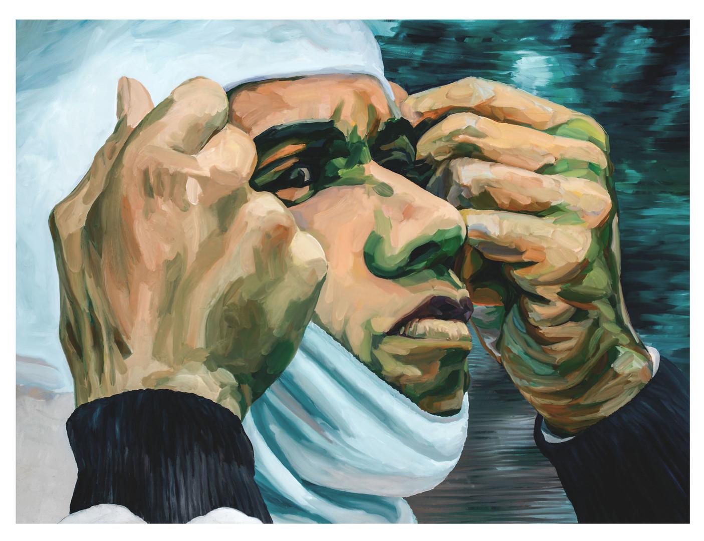 """Figures tragiques : Le coureur automobile."""" Il tient son destin entre ses mains..."""" Huile sur toile.  Format : 130x 97 cm. L'image du tableau vient d'une photographie de presse."""