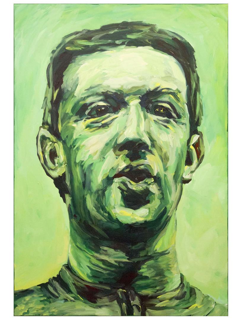 Our Savior + Her, green. Acrylique sur toile. 130 x 89 cm