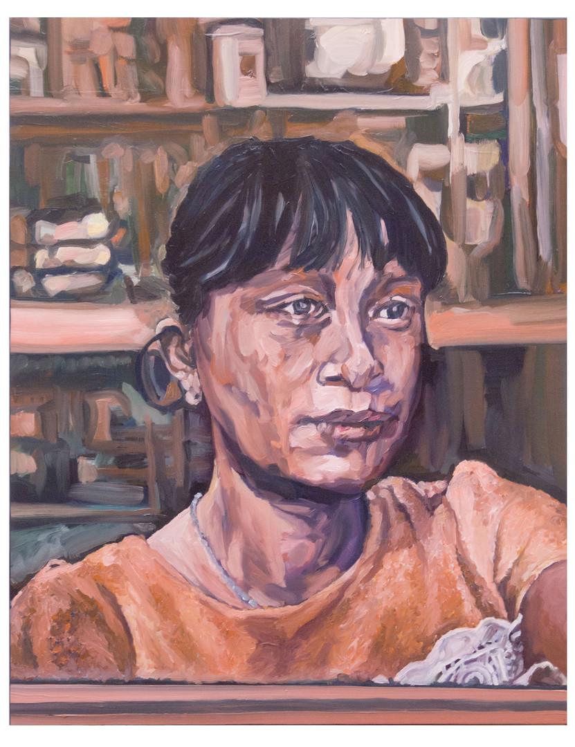 Pharmacienne au Vietnam. Huile sur toile. Format :  93 x 72 cm.  L'image du tableau vient d'une photographie de presse.