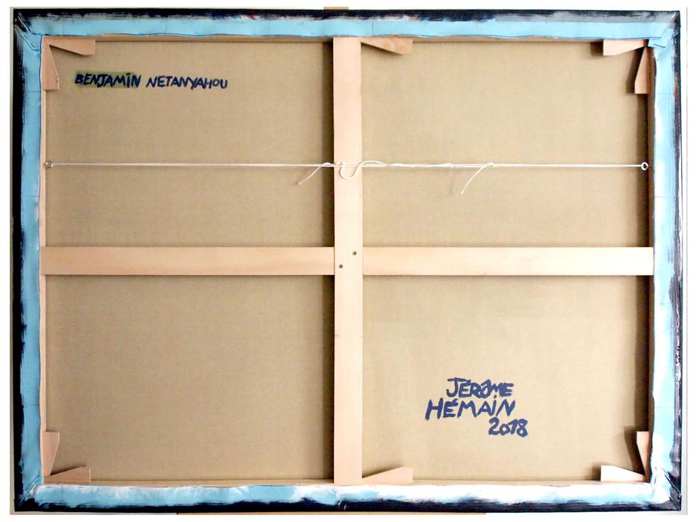 Dos-chassis-netanyahou-60f.jpgTTSCPA - Toile (type polyester) tendue sur châssis par l'artiste.