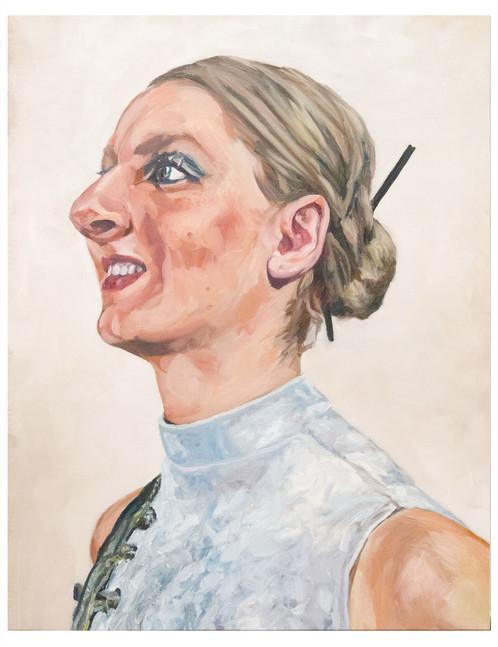Série, les dernières blondes  : Veronika. Huile sur toile.  Format : 92 x 73 cm L'image du tableau vient d'une photographie de presse illustrant  l'inexorable disparition  sur terre du cheveu blond.
