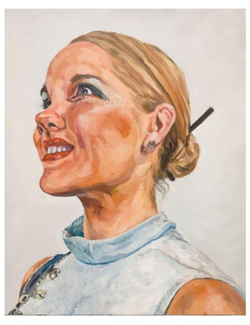 Série, les dernières blondes  : Julia. Huile sur toile.  Format : 92 x 73 cm L'image du tableau vient d'une photographie de presse illustrant  l'inexorable disparition  sur terre du cheveu blond.