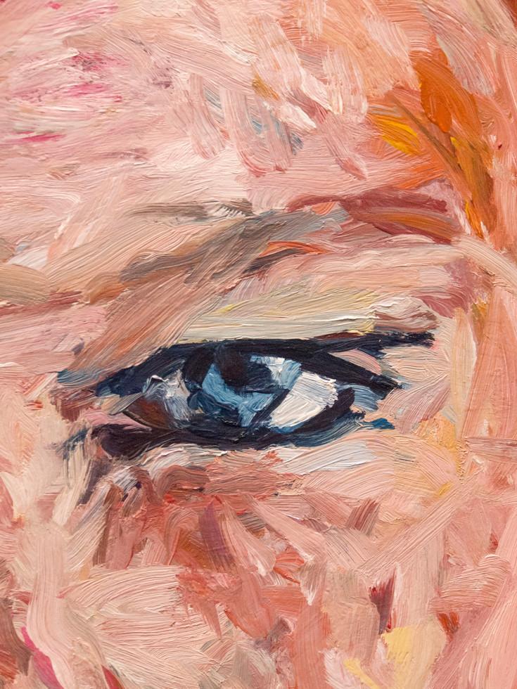 L'iris bleu. (acrylique) La pythie - close-up. Oeil bleu.