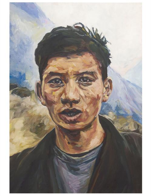 Jeune homme qui arrive. Huile sur toile.  Format : 130x 89 cm. L'image du tableau vient d'une capture d'écran de télévision.
