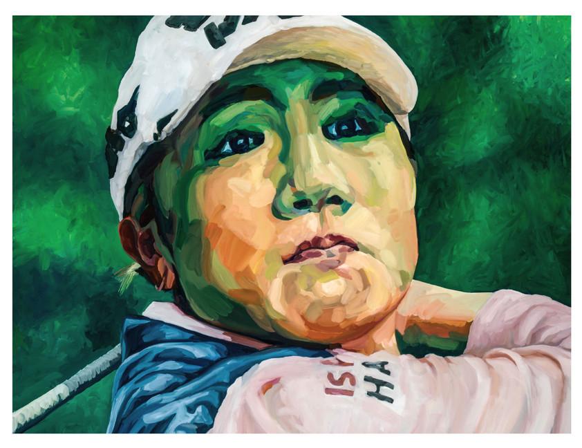 """Figures tragiques  : La joueuse de Golf. """" La trajectoire de la balle, c'est la sienne..."""" Huile sur toile.  Format : 130x 97 cm. L'image du tableau vient d'une photographie de presse."""