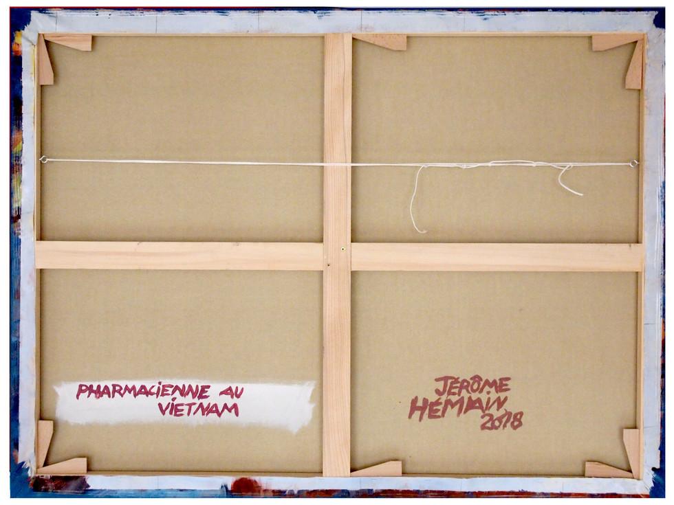 Dos-chassis-pharmacienne-60f.jpg TTSCPA - Toile (type polyester) tendue sur châssis par l'artiste.