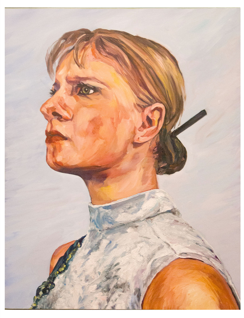 Série, les dernières blondes  : miko. Huile sur toile.  Format : 92 x 73 cm L'image du tableau vient d'une photographie de presse illustrant  l'inexorable disparition  sur terre du cheveu blond.