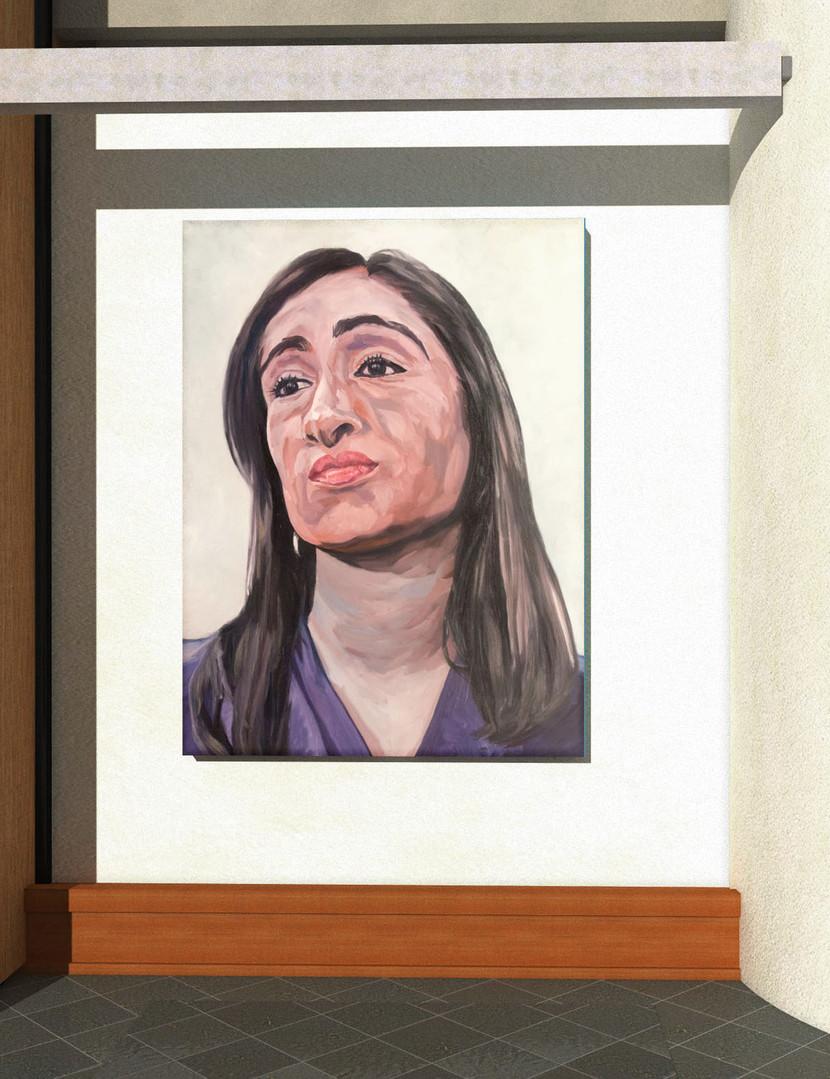 """Figures tragiques : L'avocate. """" son seul client est au-delà de tout... """" Huile sur toile.  Format : 130x 97 cm. L'image du tableau vient d'une photographie de presse."""