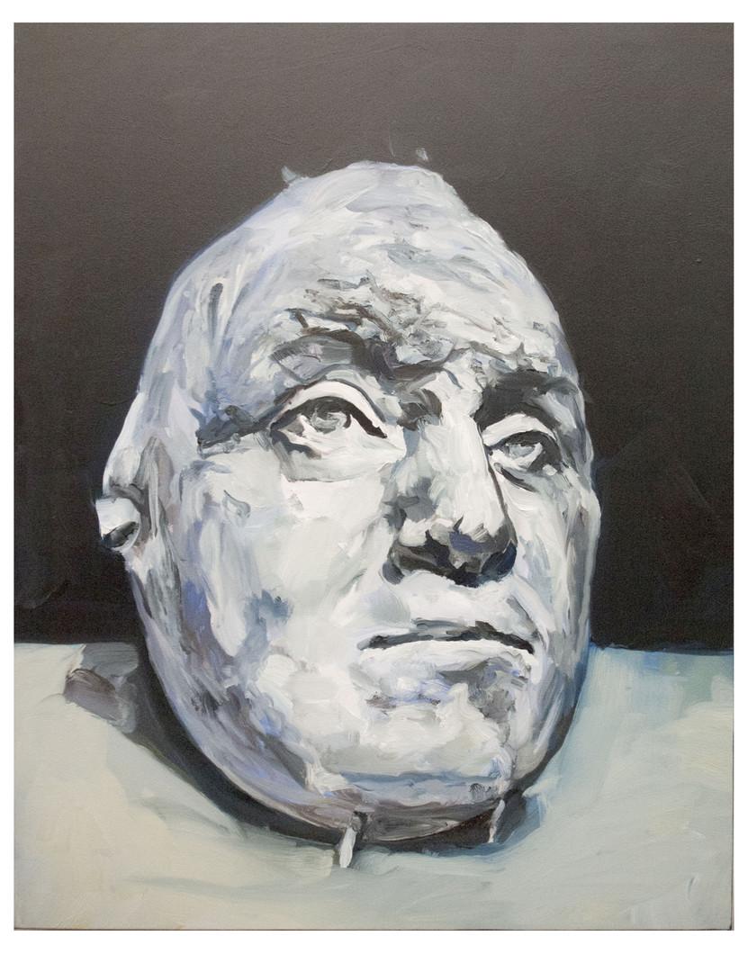 Masque mortuaire de George Washington. Huile sur toile. Format :  61 x 50 cm.  L'image du tableau vient d'une photographie de presse.