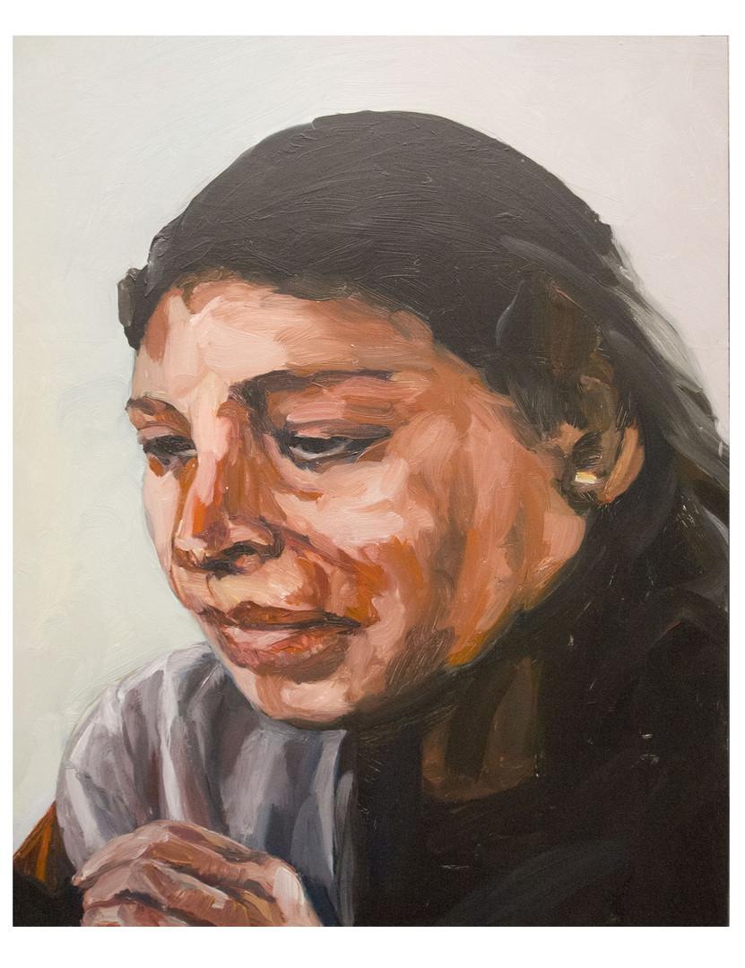 Femme-a-la-couture au Pérou. Huile sur toile. Format :  61 x 50 x 2 cm.  L'image du tableau vient d'une photographie de presse illustrant un article sur le travail de femmes en prison au Pérou.