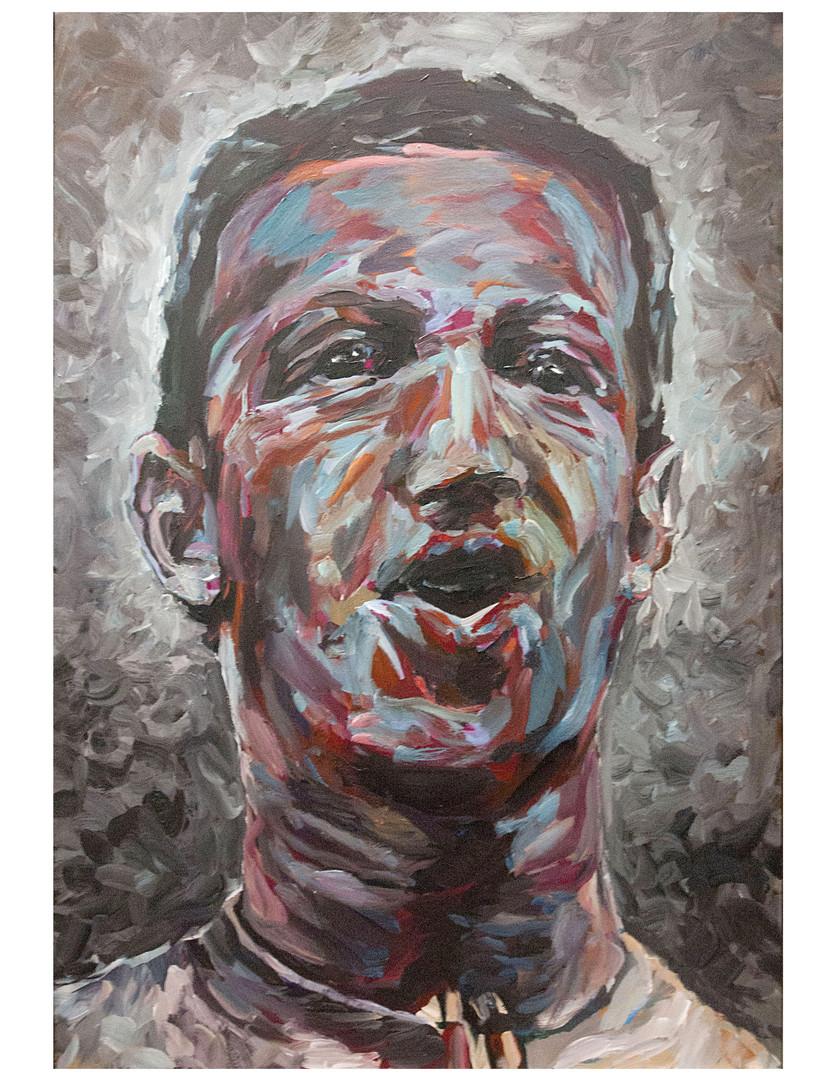 Our Savior + Her - Gray - Acrylique sur toile. 130 x 89 cm