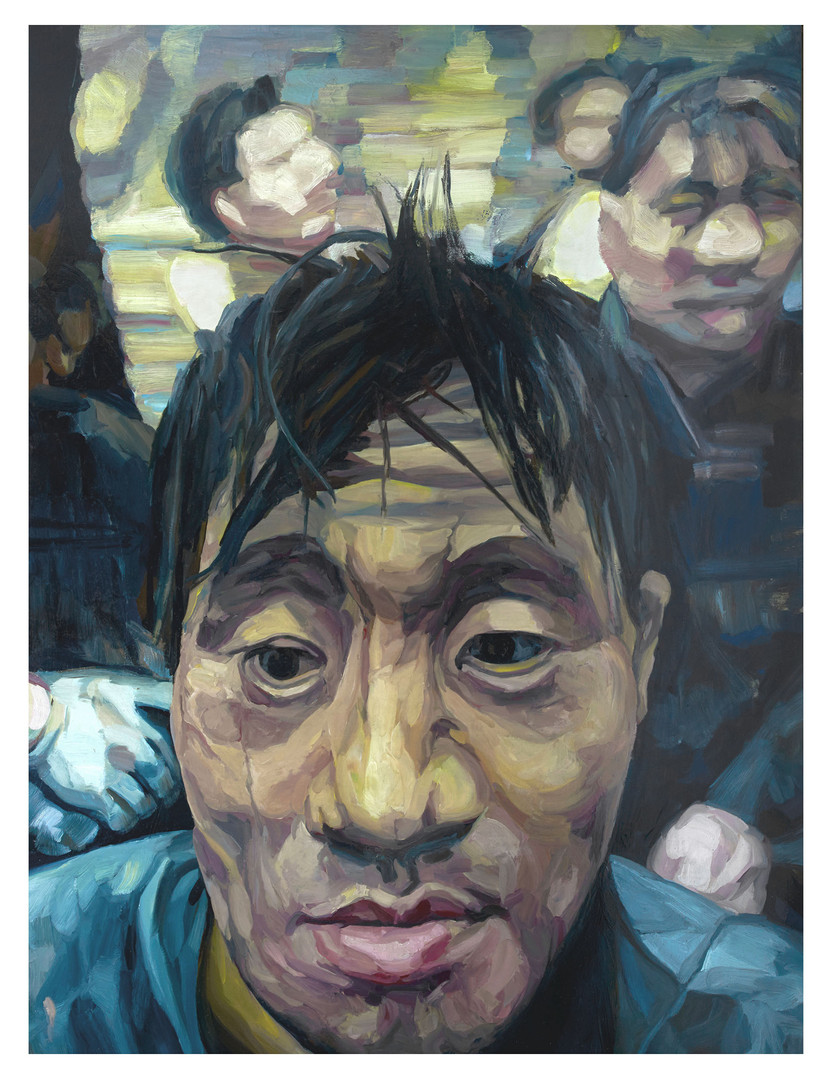 """Figures tragiques : Le mineur chinois/01. """" Il respire, c'est qu'il est vivant..."""" Huile sur toile.  Format : 130x 97 cm. L'image du tableau vient d'une photographie de presse."""