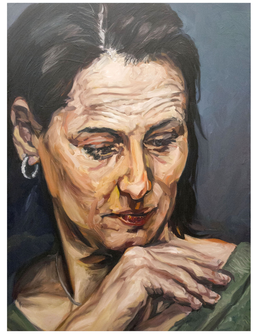 """Figures tragiques : Femme-Politique. """" Elle a perdue la main...""""Huile sur toile.  Format : 130x 97 cm. L'image du tableau vient d'une photographie de presse."""