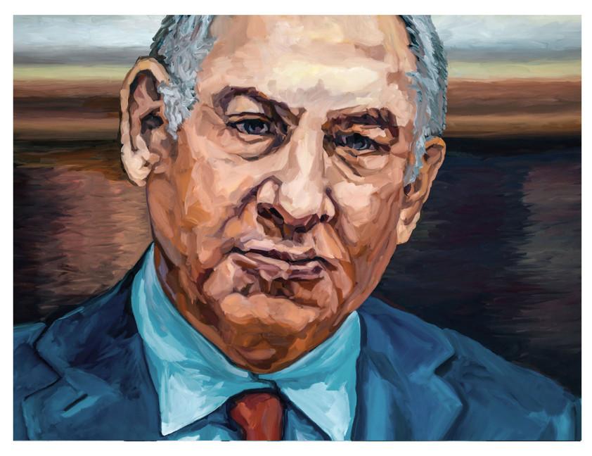 """Figures tragiques : L'homme d'état. """" Il regarde, mais il ne voit pas... """" Huile sur toile.  Format : 130x 97 cm. L'image du tableau vient d'une photographie de presse."""