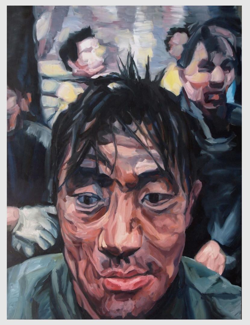 """Figures tragiques : Le mineur chinois02. """" Il respire, c'est qu'il est vivant..."""" Huile sur toile.  Format : 130x 97 cm. L'image du tableau vient d'une photographie de presse."""