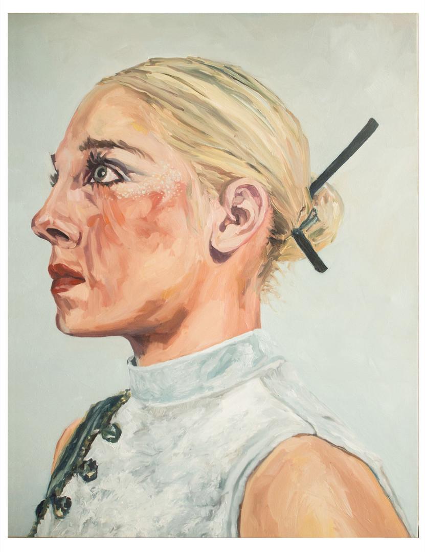 Série, les dernières blondes  : Anastasia. Huile sur toile.  Format : 92 x 73 cm L'image du tableau vient d'une photographie de presse illustrant  l'inexorable disparition  sur terre du cheveu blond.