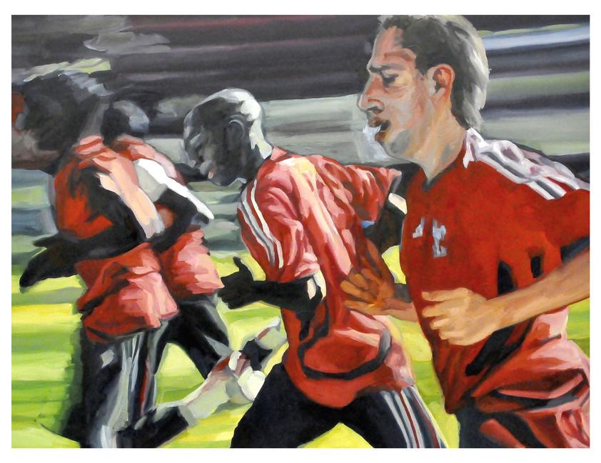 """Figures tragiques : Les footballeurs à l'entraînement. """" Ils ne partagent pas le méme espace... """" Huile sur toile.  Format : 130x 97 cm. L'image du tableau vient d'une photographie de presse."""