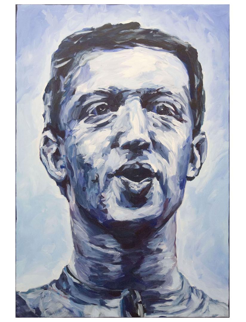 Our Savior  + Her, blue. Acrylique sur toile. 130 x 89 cm