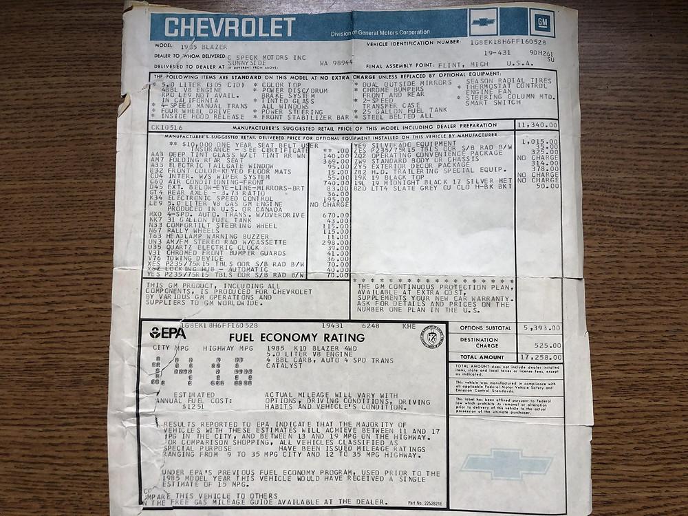 1985 K5 Blazer