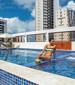 casal, piscina praia, Hotel Manibu Recif