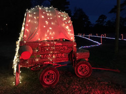 Wagon Covered in Christmas Lights