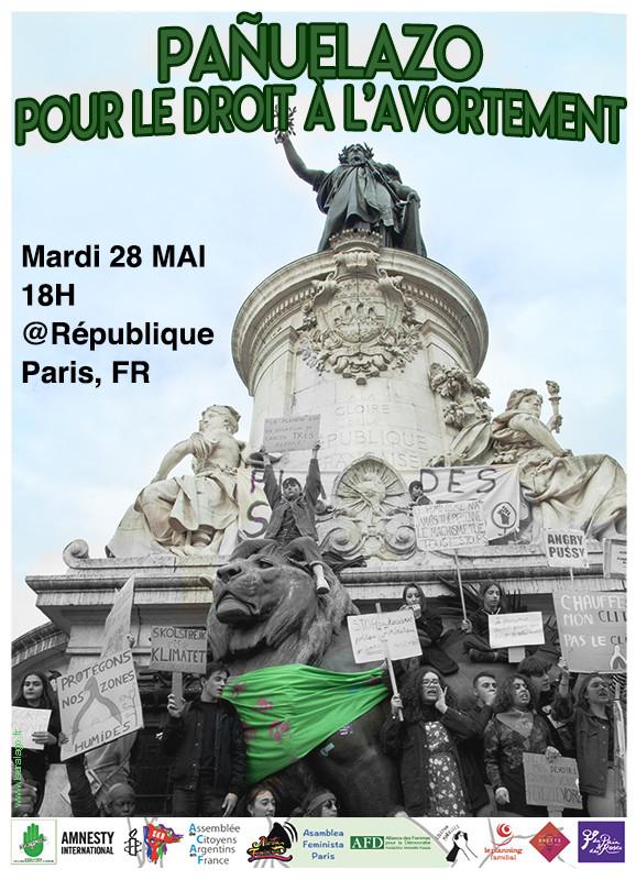 Pañuelazo Place de la République, Paris 2019-  flyer réalisé par Laura Lago