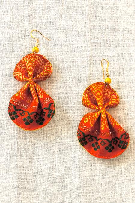 Double Fan Earrings in Orange