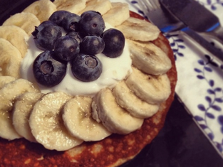 Banana Peanut Butter Protein Pancakes
