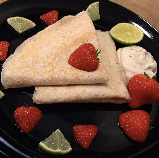 low carb strawberry protein crepes