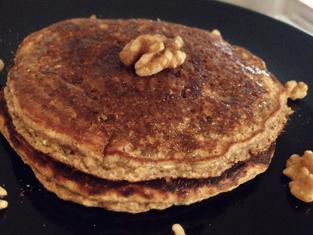 Banana Walnut Protein Pancakes