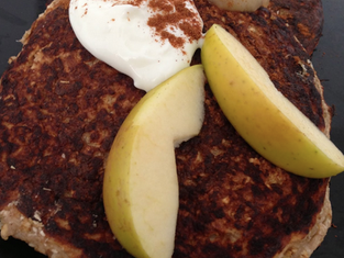 Coconut Apple Cinnamon Protein Pancakes