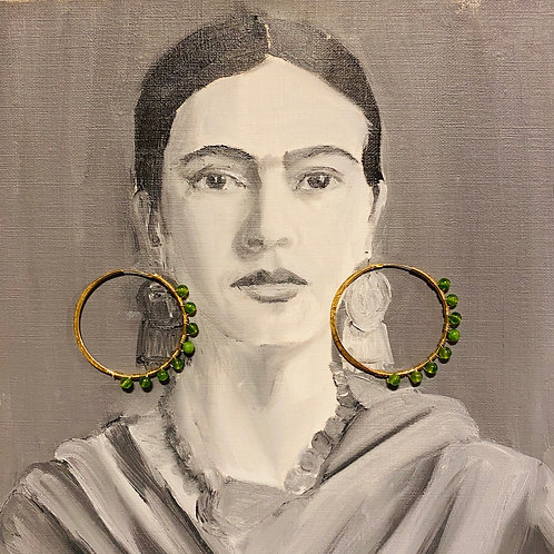 Frida Hoops  Gold Plated Green Stones