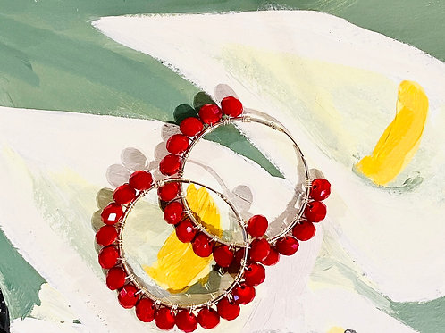 Frida Hoops 4cm Silver with Red Crystals