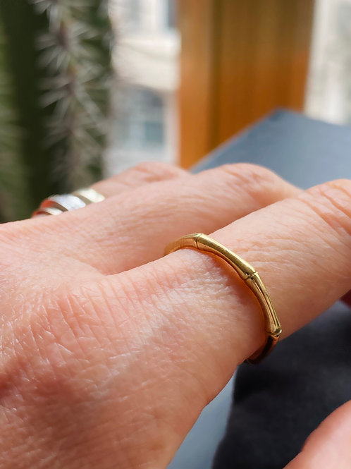 Gold Plated Bamboo Ring