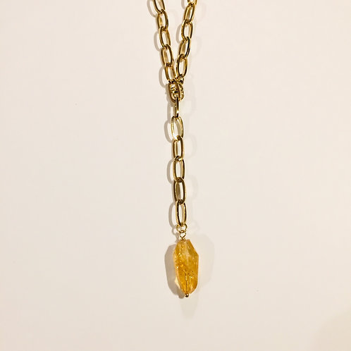 Stainless Steel Necklace Citrine Stone
