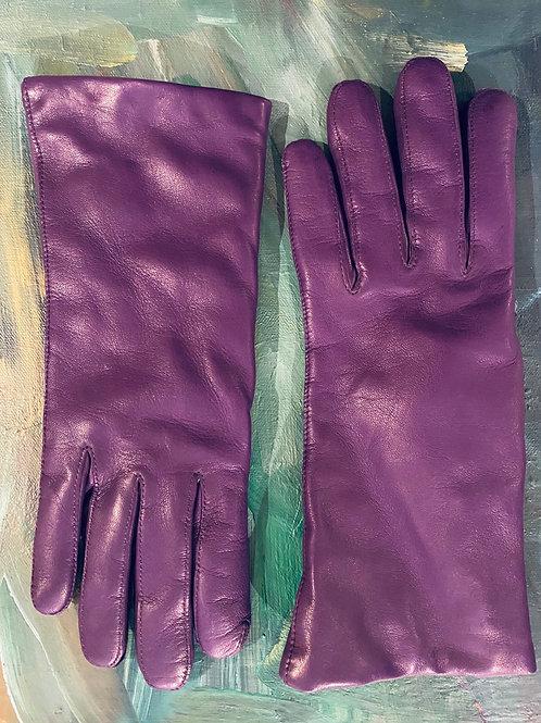 Leather Purple Winter Gloves