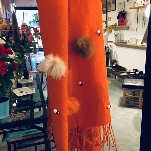 Orange Scarf Pom