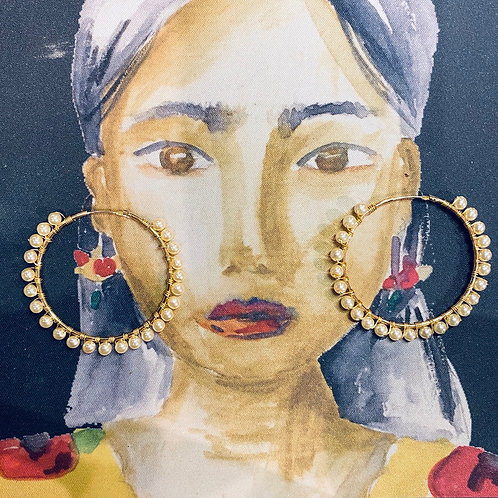 Frida Hoops Gold Plated 14k Swarovski Crystals