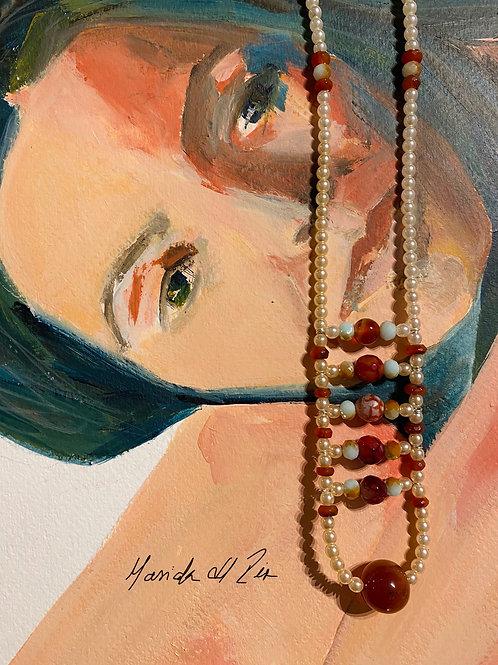 Boho Necklace  03  | Czech Crystal Pearls and Gemstones |  Handmade Jewelry