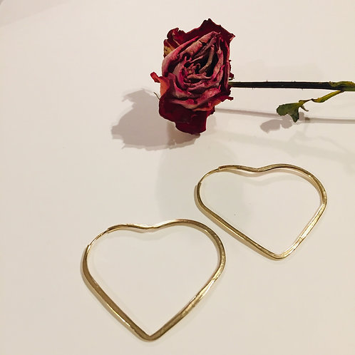 Gold Plated Hoop Hearts