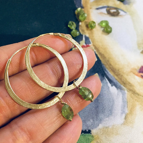 Gold Plated Hoops Green Stone