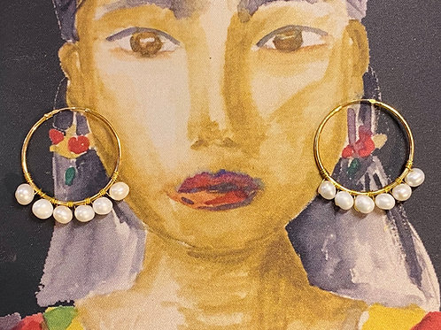 Frida Hoops Gold Plated Fresh Water Pearls