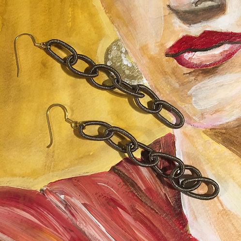 Silk Gray Chain Earrings Gold Plated