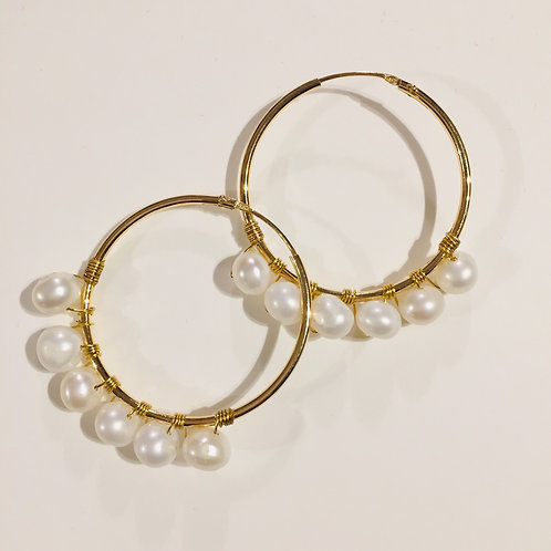 Gold Plated Hoops with Fresh Water Pearls | Frida Collection