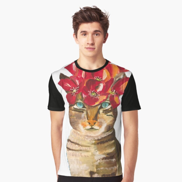 Art Wear Cat Kahlo T-shirt Men