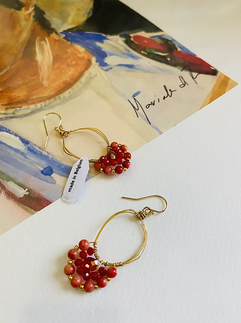 Gold plated earrings with red crystals and stones by Maricela del Rio